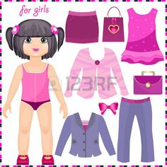 paper doll for girls: Paper doll with a set of elegant clothes. Cute fashion girl. Template for cutting. Illustration
