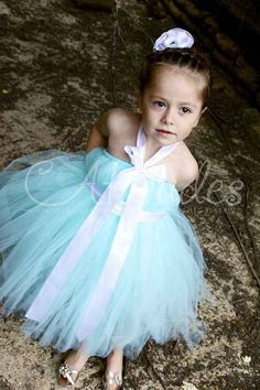 A Flower Girl Dress in Tiffany Blue