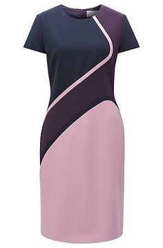 A statement, versatile piece in smooth stretch fabric by BOSS Womenswear. This short-sleeved sheath dress features modern colourblocking and carefully placed dividing seams for a sleek, form-flattering fit. Simply add heeled loafers for an impeccable day-to-evening look.