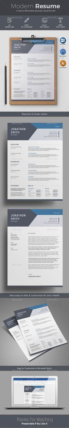 #Resume - Resumes #Stationery Download here: https://graphicriver.net/item/resume/19460556?ref=alena994