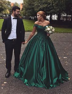 Hunter Green Satin Ball Gowns Wedding Dresses Lace Off The Shoulder