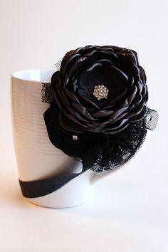 Charcoal and Black Flower Headband от JensBowdaciousBows на Etsy
