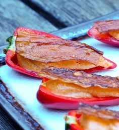 "Pepper Poppers with Pine Nut Filling and ""Bacon"" The Eggplant ""Bacon"" sounds interesting. #Raw"