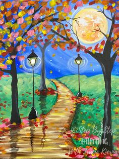Fall Path Painting - Step By Step Painting With Tracie Kiernan Fall Canvas Painting, Canvas Painting Tutorials, Autumn Painting, Diy Canvas Art, Canvas Painting Designs, Canvas Crafts, Texture Painting, Easy Flower Painting, Acrylic Painting Flowers