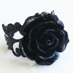 Hey, I found this really awesome Etsy listing at https://www.etsy.com/listing/123980745/black-rose-ring-black-brass-adjustable
