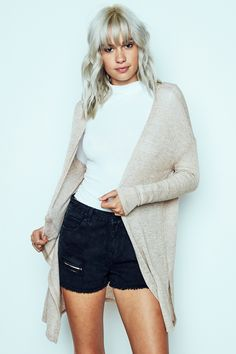 URBAN PLANET | Marled Knit Cardigan in Taupe