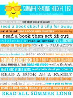 Summer Reading Bucket List - Printable list of fun places and things to read over the summer. What a great way to avoid the summer slide!