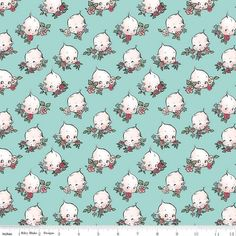 Design Floral, Kewpie, Cotton Quilting Fabric, Riley Blake, Modern Fabric, Vintage Fabrics, Fabric Decor, Blue Backgrounds, How To Memorize Things