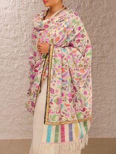 Ivory, Blue, Red Exquisite Kashmir Pashmina Dorukha Kani Phool Patti Design Hand Woven Shawl Online at Jaypore.com