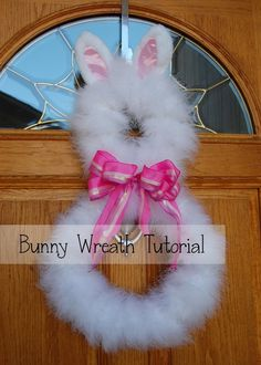 Pinkie for Pink: Bunny Wreath Tutorial DIY with a Marabou Boa from www.featherplace.com