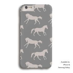 Classic Gray Horse Pattern Equestrian Phone Case - The Painting Pony - for samsung galaxy or iphone type cell phones