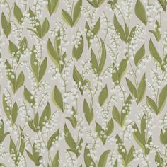 Lily of the valley wallpaper from Sandbergs is a fun and romantic design that comes in three different colors, grey, black and beige. wallpaper Lily of the valley wallpaper-light grey Green Wallpaper, Flower Wallpaper, Pattern Wallpaper, Feature Wallpaper, Flower Power, Tableaux D'inspiration, Virginia Creeper, Climbing Roses, Patterns