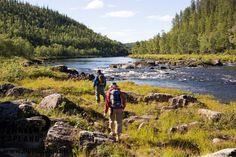 Summer and hikers in Lemmenjoki, Inari, Finnish Lapland. Photo by Courtesy of Northern Lapland Tourism ltd. #filmlapland #arcticshooting #finlandlapland