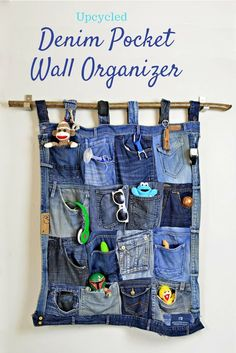 Fantastic Denim Pocket Wall Organizer From Your Old Jeans.