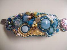 Blue cuff- amazonite, seed beads. at etsy.com/shop/deborahglasser1