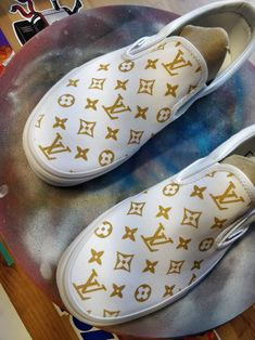 Slip on sneakers outfit – Lady Dress Designs Louis Vuitton Shoes Sneakers, Lv Shoes, Shoe Boots, Hype Shoes, Painted Vans, Custom Painted Shoes, Custom Vans Shoes, Custom Sneakers, Custom Slip On Vans