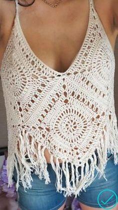 Pull Crochet, Mode Crochet, Crochet Crop Top, Crochet Blouse, Learn To Crochet, Crochet Lace, Crochet Bikini, Bralette Pattern, Crochet Summer Dresses