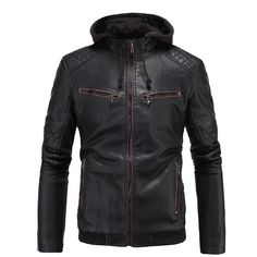 RIPBLINK Men Pu Jackets Leisure Leather Jacket Men Warm Thick Coats Solid Mens Leather Jackets Motorcycle Coats Size XL-3XL A070