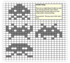 Ravelry: Space Invaders Charts pattern by Jennifer Wang Fair Isle Knitting Patterns, Knitting Charts, Knitting Designs, Loom Knitting, Knit Patterns, Crochet Chart, Crochet Motif, Crochet Ideas, Fair Isle Chart