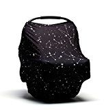 #9: Baby Car Seat Cover - Nursing Breastfeeding Scarf - Stroller Carseat Canopy Cover for Girls and Boys - Infant Car Seat Cover for Babies - Infinity Stretchy Nursing Car Seat Cover Stars Constellation