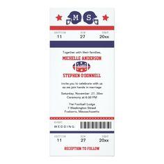 Sport Wedding Save the Date Invitations Football Ticket Wedding Invitation