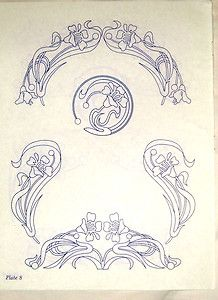 Vintage embroidery transfer - Art Nouveau nasturtium flower & leaf motifs $1 BY 0CT 5