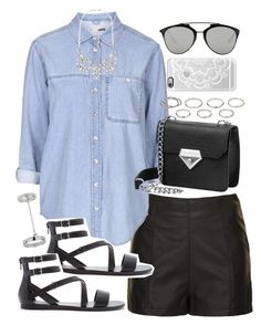 """""""Outfit with a denim shirt and Casetify phone case"""" by ferned ❤ liked on Polyvore featuring Topshop, Forever 21, Casetify, Christian Dior, Forever New, Akira, women's clothing, women, female and woman"""