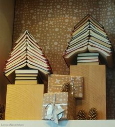 Bookish Xmas decor... and all you need to do is find the right hardcover colors!  So fun.
