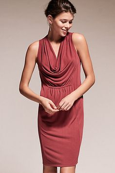 This looks so flattering and forgiving! Cara Cowl Dress #anthropologie
