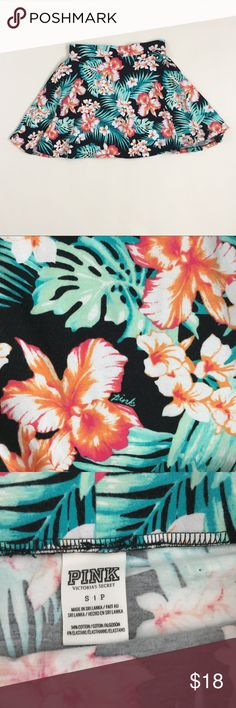 "PINK VS tropical Hawaiian high waist skirt Small PINK by Victoria's Secret tropical Hawaiian high waist skirt. Some mild wash wear. Size Small. 13.5""-16"" across elastic waist and 16"" long. PINK Victoria's Secret Skirts"