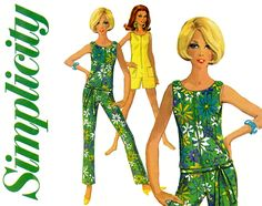 1960s Jumpsuit Pattern Simplicity 7133 Skinny Leg Jiffy Jumpsuit, Romper Sleeveless Zip Front Shoulder Button Womens Vintage Sewing Patterns by CynicalGirl on Etsy