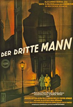 """Movie Poster of the Week: Carol Reed's """"The Third Man"""" Film Poster Design, Movie Poster Art, Film Posters, Vintage Movies, Vintage Posters, Carol Reed, Joseph Cotten, The Third Man, Foreign Movies"""