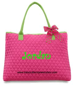 PERSONALIZED QUILTED BAGS, TOTES AND LUGGAGE SETS - Fushia and Lime - CLICK TO SEE SELECTION