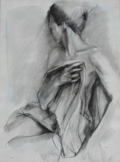 Charcoal Drawing of Female Model Holding Drapery. Large Fine Art Print. $30.00, via Etsy.