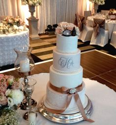 Monogram & Bow's Wedding Cake - elegant and chic.