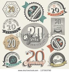 Vintage 20 anniversary collection. Twenty anniversary design in retro style…