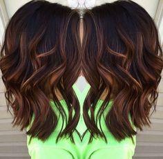 nice Blunt, Wavy Medium Hairstyles for Thick Hair 2017 - Caramel balayage highlights...