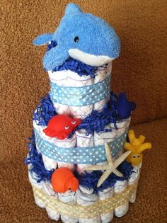 Under the Sea Animals Diaper Cake by EssenceofElla on Etsy, $40.00 www.facebook.com/essenceofella