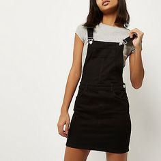 Black denim overall dress - overalls - rompers/ jumpsuits - women