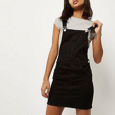 Black denim overall dress - overalls - rompers/ jumpsuits - women