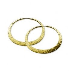 Toby Pomeroy 18K Hammered Hoops with Diamonds