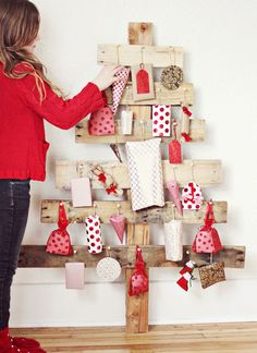 colourful wooden pallet christmas trees to DIY or make using reclaimed wood