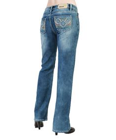 $49.99 Loving this Medium Stone Embroidery Straight Leg Jeans on #zulily! #zulilyfinds