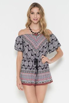 Challis Border Print Off The Shoulder Romper with Tie Made in USA