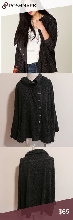 Free People French Terry Oversized Cardigan 🌼 Free People's We The Free french terry Cardigan in gray and black leopard print.  Features side pockets, raw seaming, fold over collar, oversized fit and snap button placket in front.  In excellent, like new condition. Free People Sweaters Cardigans