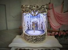 Puppet theater with illumination. Paper theater. Miniature theater doll.  Handcrafted miniature. For doll House. 1:12 Scale.