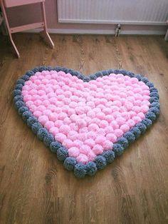 love heart pom pom rug