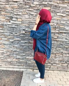 long denim chemise with hijab-How to wear colorful hijab in winter – Just Trendy Girls