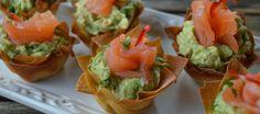 Krokant cupje met avocado en zalm | Lekker Tafelen