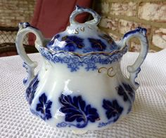 """JOHNSON BROTHERS """"NORMANDY"""" FLOW BLUE SUGAR & LID #JOHNSONBROTHERS"""